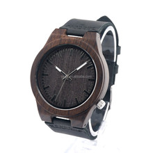 2017 Fashion Leather Strap Wooden Watch Popular Handmade Eco-friendly Wrist Wooden Watches