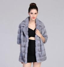 100% real hand made natural women grey mink fur coat