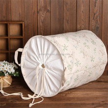 Wholesale manufacturer's price custom printing large capacity foldable canvas storage basket cotton fabric laundry hamper