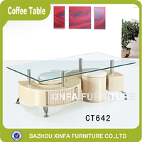 Creative design exotic style tempered glass coffee table