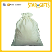 Alibaba China 2015 White Recyclable Cotton Drawstring Pouch Bag