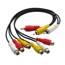 12 inch 3 RCA Male Jack to 6 RCA Female Plug Splitter Audio Video AV Adapter Cable