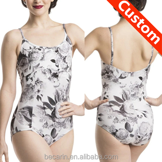 custom rose floral print spaghetti strap leotard women dance wear china