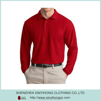Custom embroidery mens red color long sleeve polo shirts