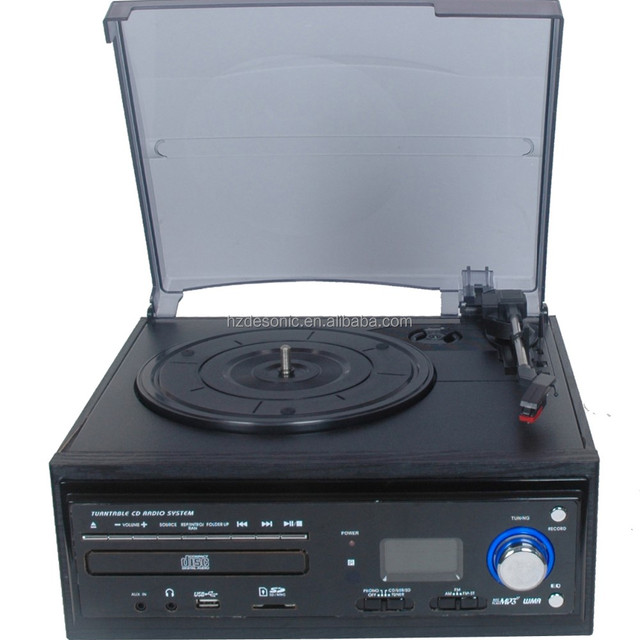 2016 vinyl recordable turntable player& vinyl records collections cd recorder player with speakers