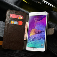 100% Genuine Leather Wallet Case for samsung galaxy note 4, for Samsung Galaxy note 4 flip case