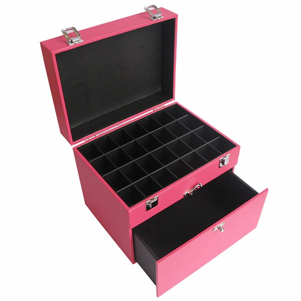 Pink leather vanity nail posh makeup case