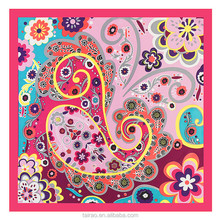 Floral prints, solid colors and african fabric,paisley design silk scarves ladies 60*60cm