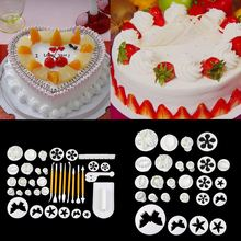 12 Sets 37pcs! Fondant Cake Cookie Sugar Craft Decorating Plunger Flowers Modelling Tools Set DIY Cake Cutters Molds Sugarcraft