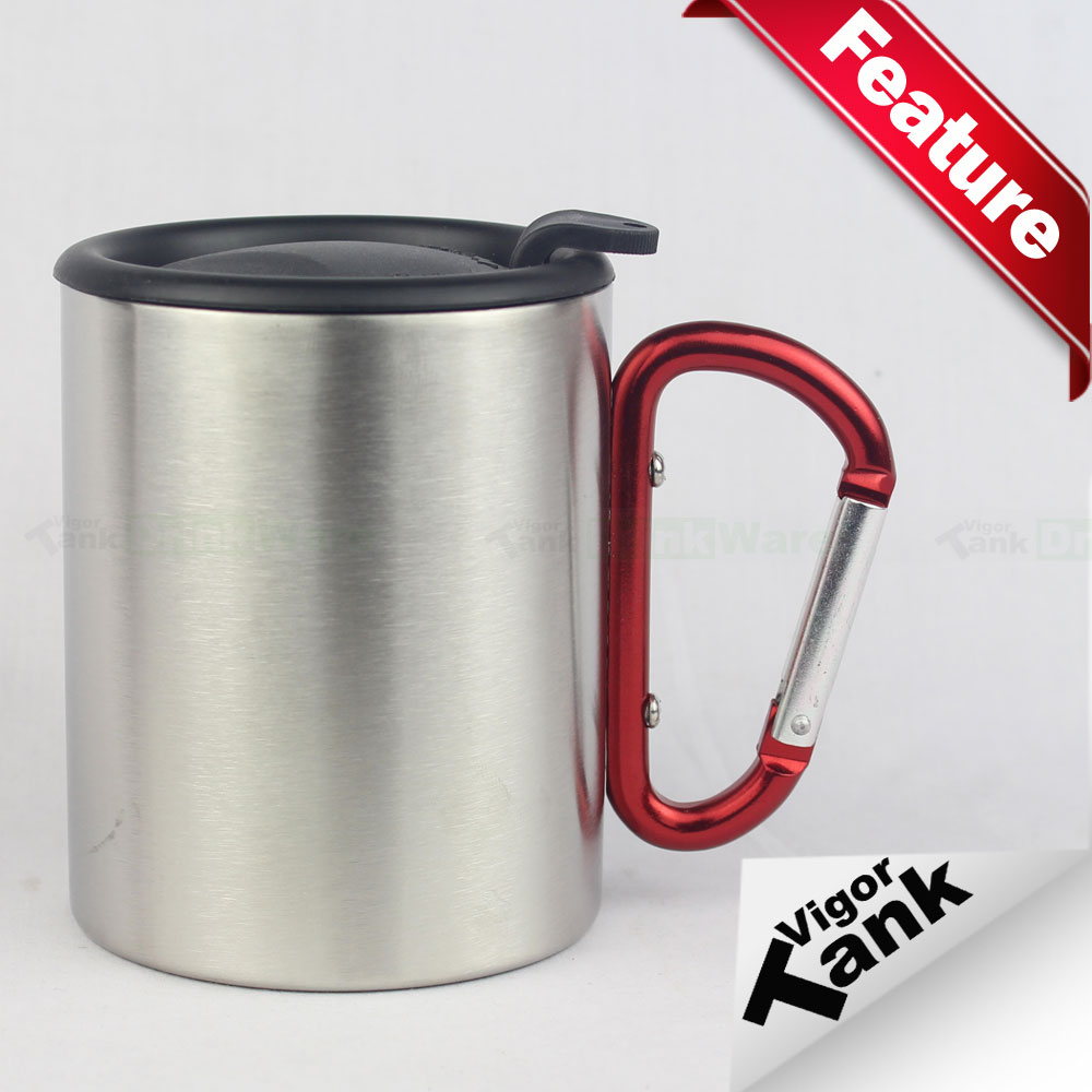 Stainless Steel Outdoor Carabiner Handle Coffee Cup