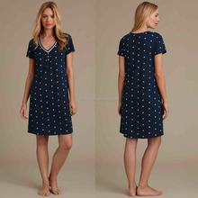 Wholesale Custom Made in China Women Fashion Short Sleeve Daisy Floral Nightdress Sleepwear China Clothing Manufacture Pyjamas