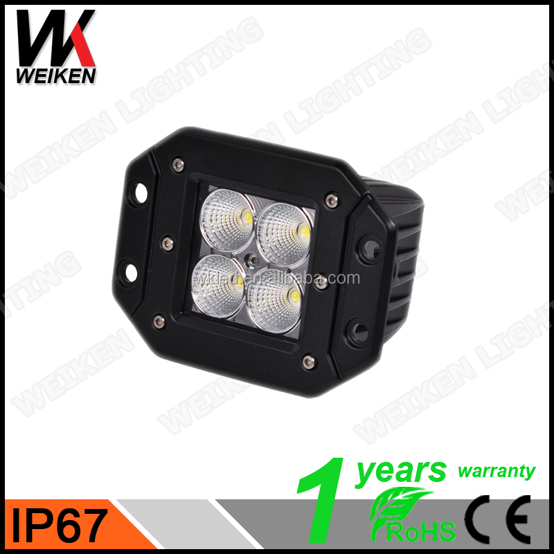WEIKEN Truck RGB led light 12W with halo ring installed 4D C REE cube working lamps