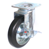 Swivel Industrial rubber on steel locking caster wheels,caster and wheel,swiveling caster with brake