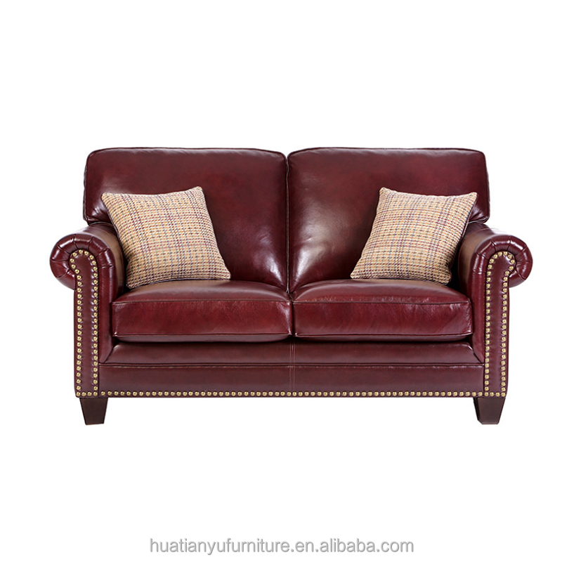 Custom made 2 seat leather upholstery reclining sofa with wood carving