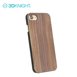 Real walnut wood + black pc protective phone cases covers for iphone 8 case phone ptint