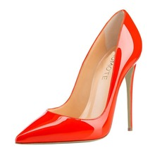 women shoes 2017 bright red patent leather high heels in PU material