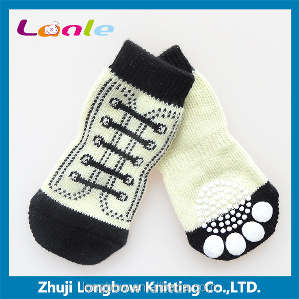2016 Shoelace patten cotton dog socks,anti-slip pet sock pet products made in China
