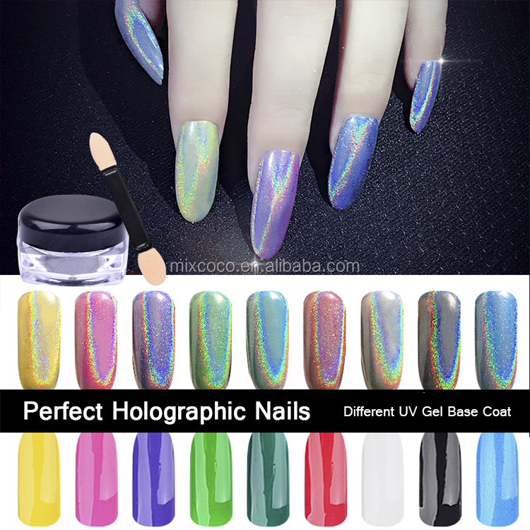 Mixcoco brand holographic pigment effect glitter powder for nail art