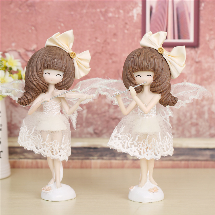 Wholesale kids gifts Angel girl home table decoration DIY craft for children resin craft supply