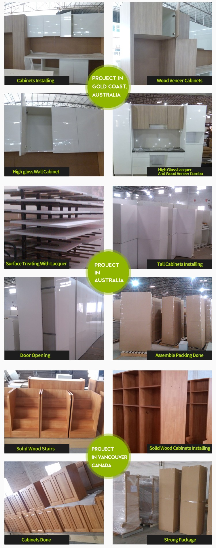 Hot-selling showroom project fiber kitchen cabinet