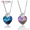 00479 Xuping Lilac crystals from Swarovski heart shaped silver color necklace for women