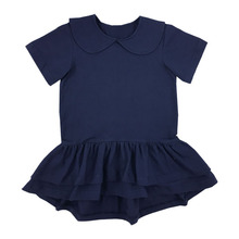 wholesale summer new model girl dress short sleeve lapel ruffle pure color simple fashion girl dress