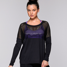 Women's Long Sleeve Loosed Cool Mesh Dry Fit Athletic Performance T-Shirt