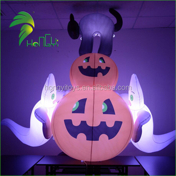 Weird Unique Inflatable Lighting Pumpkin Ghost Yard Halloween Decoration