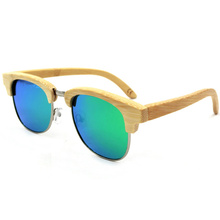 handmade polarized lens half frame wood sunglasses <strong>bamboo</strong> women and men wholesale sk0141-1