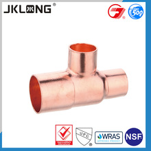 J9809 reducing tees copper pipe fitting,customized stable brass copper fitting