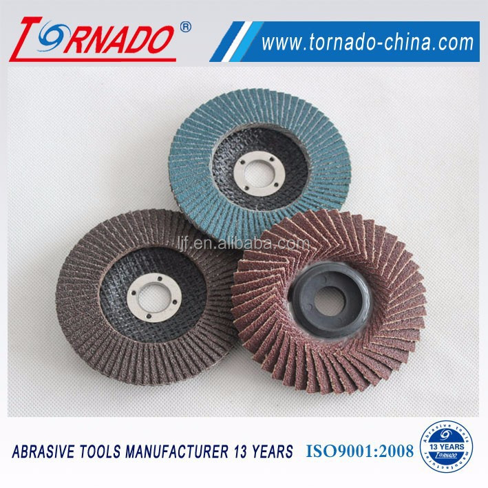 Tornado 150x22mm grit 60# zirconia with calcined flap disc for stainless steel polishing