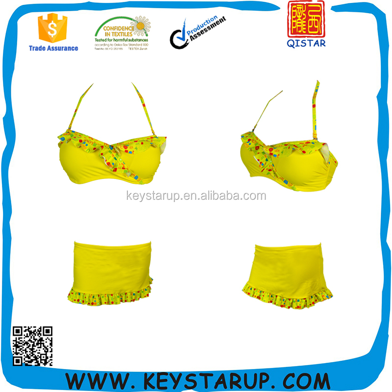Custom Bikini Skirt Set with Print Ruffle Lady Bikini OEM Custom Sexy Bikini Girls
