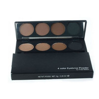 Eyebrow Cake Powder, Dark Brown/Brown Eye Brow Palette Eyebrow Powder with Brush Mirror 4 Colors