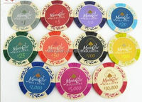 14 Gram Colorful Clay Poker Chips gift set cable drop