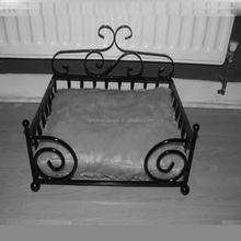 antique victorian metal frame dog bed with custom cushion luxury forged iron pet cat and pet dog beds