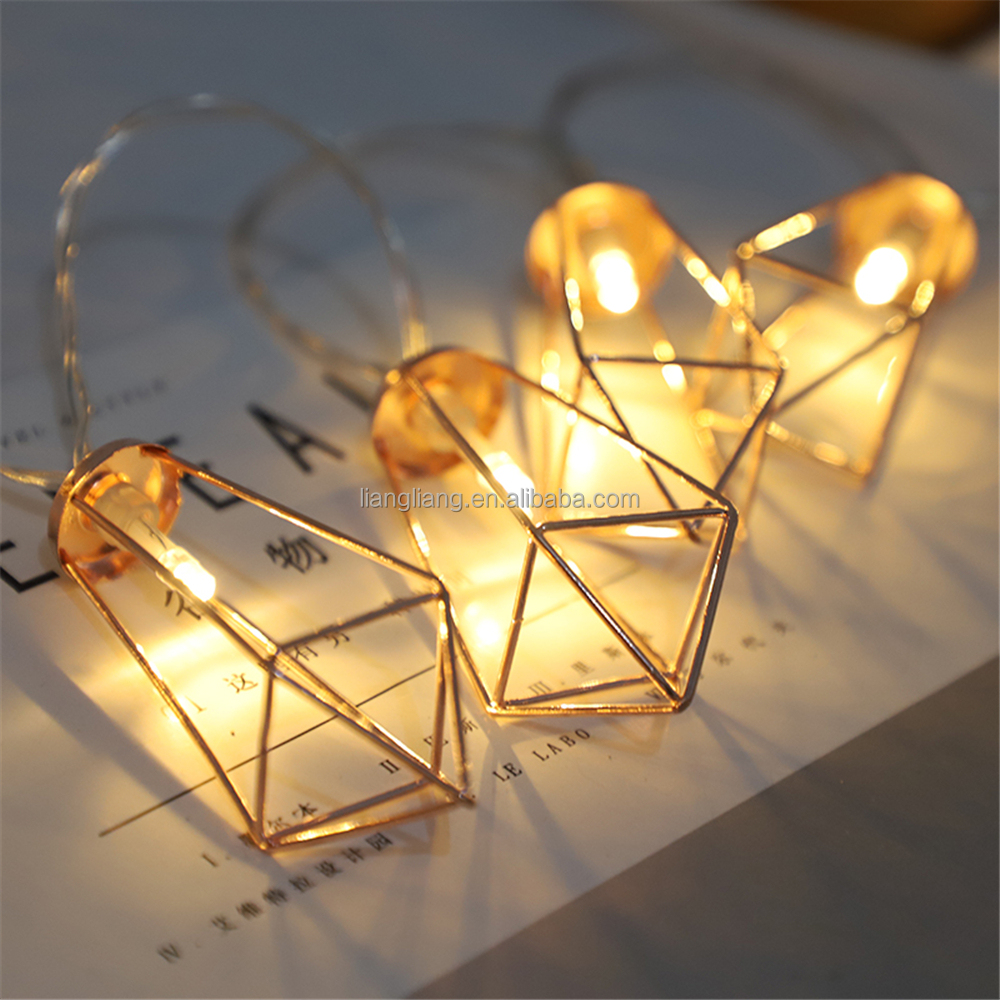 Battery 1.65M <strong>10</strong> LED Rose Gold Metal Diamond String Fairy Lights Christmas Wedding Lamp