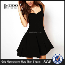 MGOO Wholesale Stock 2015 Hot Pouf Party Dress Black Cotton tropical dresses For women Fashion finery dresses 1729