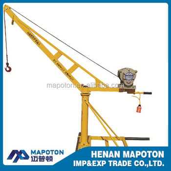 Safe and steady new design mini rotation portable electric winch crane 550kg