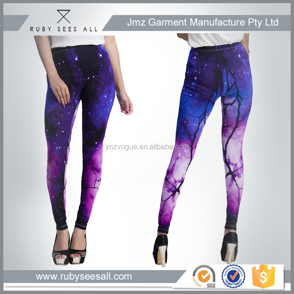 sexy multi coloured galaxy print fancy tube leggings polyester spandex OEM custom China factory 2016
