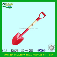 Outdoor tools round corner wood handle iron shovel with Y grip