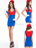 New Mario Cosplay Costume Game Suit Halloween Party Club Red Green Uniform