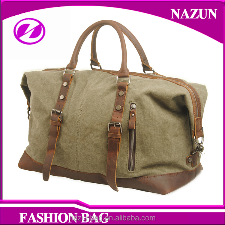 large size men's outdoor duffel bag vintage leather trim fashion cross body canvas travel bag