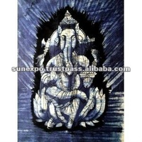 "Indian Elephant Face God Lord Ganesh Ganesha Cotton Fabric Tapestry Batik Painting Wall Hanging 22"" X 16"""