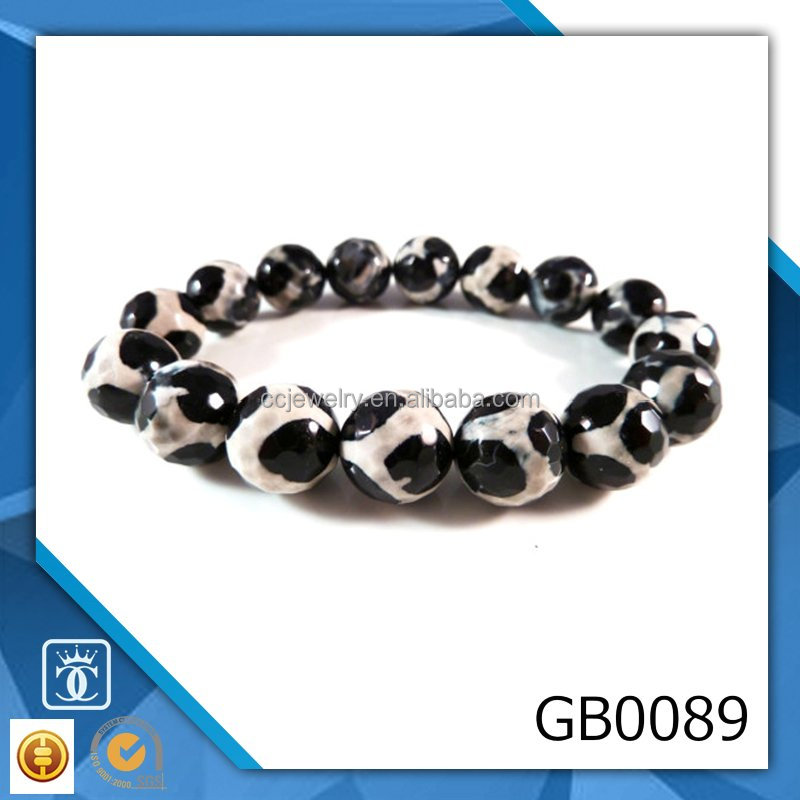 Agate Stretch Bracelet Round 12mm Micro Faceted Black Tortoise Pattern Beads Wholesale Agate Bracelets