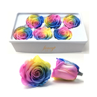 Wholesale Preserved Real Gradient Color Roses Flower Head for Home Decoration 5-6cm