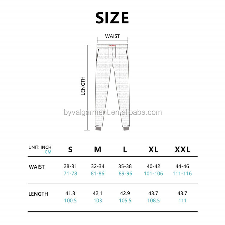 Men's pants size chart