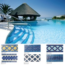 Factory Supply Popular Style Different Pattern Ceramic Swimming Pool Tile border BC03