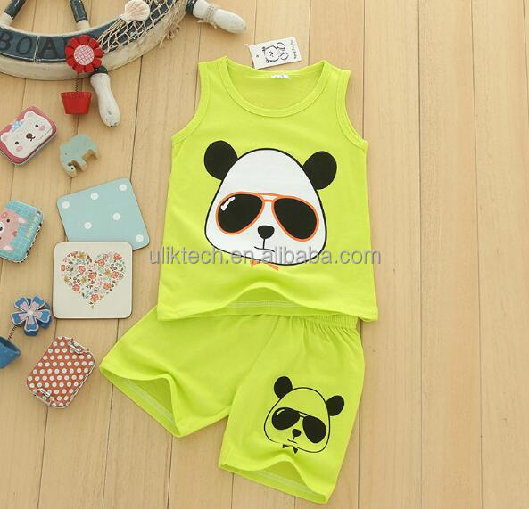 2017 summer baby boy clothes sets cute panda boy set cotton shirts + shorts kids Cartoon clothes free shipping