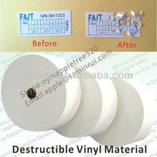 Eggshell Sticker Papers From China Factory,Largest Manufacturer of Ultra Destructible Vinyl,Fragile Warranty Label Material Roll