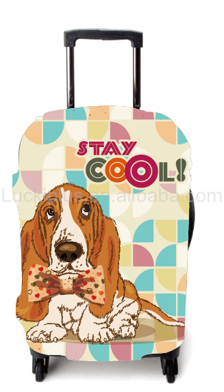 Luckiplus Colorful Puppy Pattern Suitcase Cover Protective Trolley Case Cover